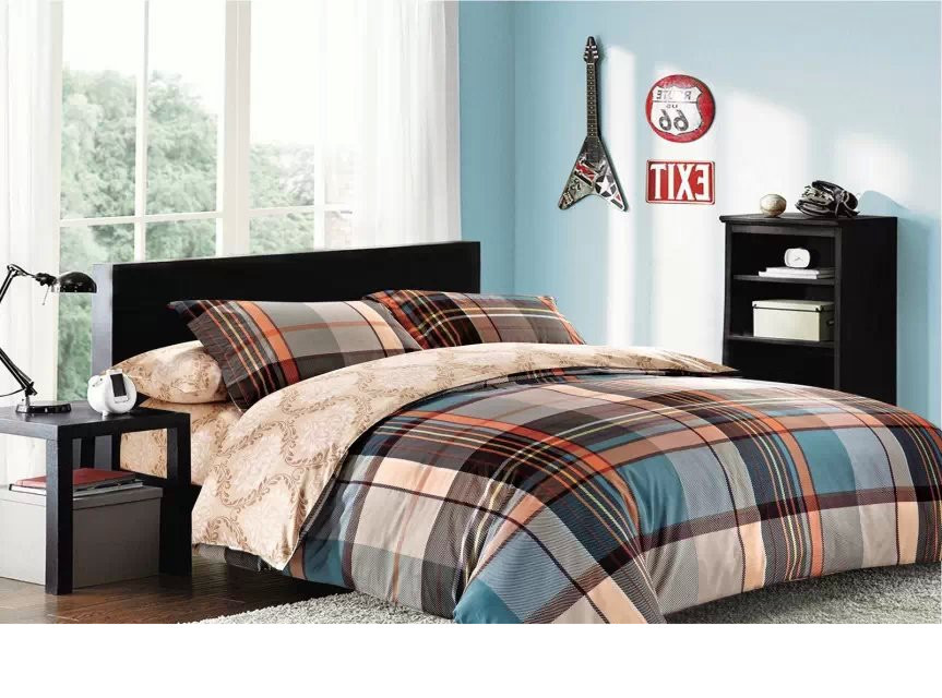 plaid bed fabric material / bedding fabric 235cm width/ pure cotton bedding cotton cloth / manufacturer wholesale/ free shipping(China (Mainland))