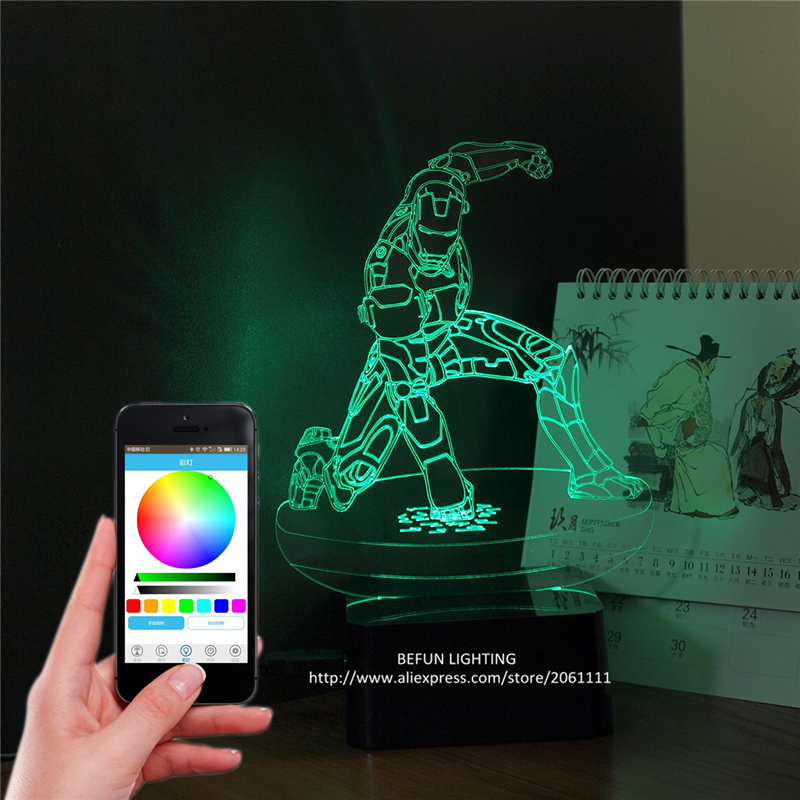 Bluetooth pairing APP phone controlled lights DIY music smooth dimming timer decorative table lamps iron man light with speaker(China (Mainland))