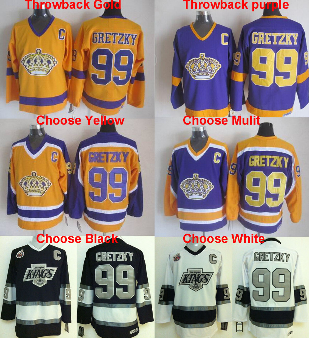 Throwback Los Angeles Kings #99 Wayne Gretzky Jersey 100Th hockey jersey White Black Purple Gold Yellow,stitched,Top quailty(China (Mainland))