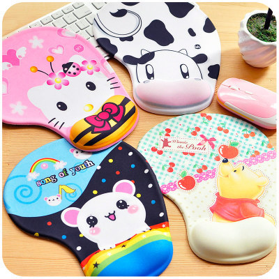 2pcs/Lot Korean Anime Cute Mouse Pad With Wrist Rest High-elastic Lycra Slip-resistant Wrist Support Mouse Mat(China (Mainland))