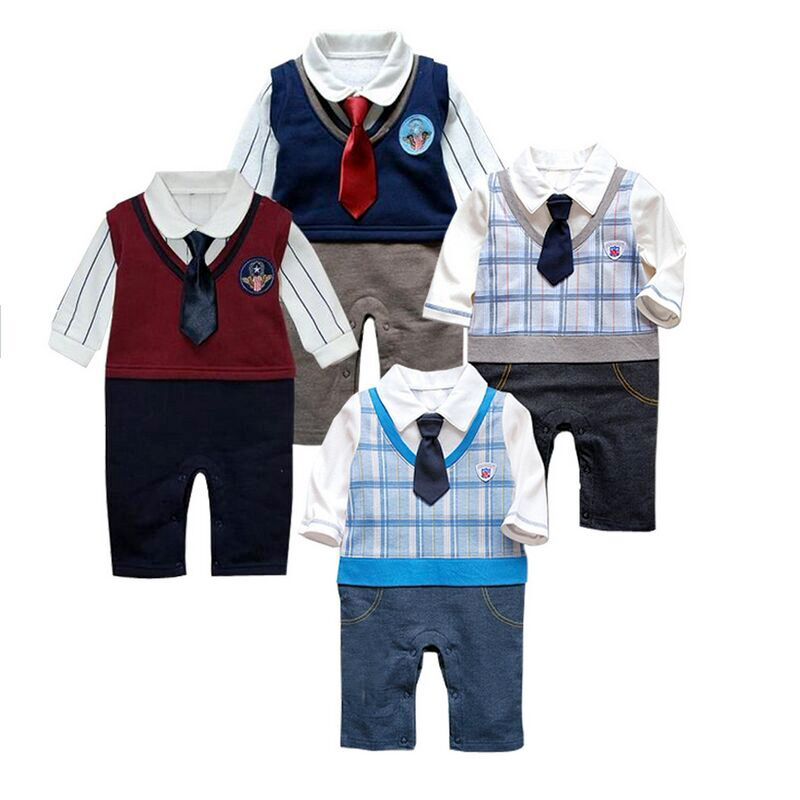 2015 infant Baby boy tuxedo Romper newborn Baby boys clothes kids Long sleeve gentleman suit toddler baby clothing 4- 24 months()