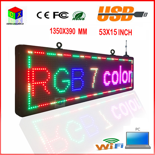 P10RGB 7 color outdoor LED sign with UL power supply 15X53-inch high-brightness programmable scrolling LED display(China (Mainland))