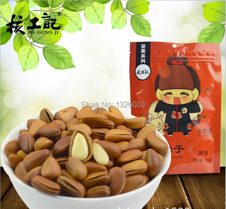100% Natural Delicious Chinese Local Specialties Snack Original Green Dried Fruit Food Pine Nuts Roasted Seeds For Parents Older(China (Mainland))