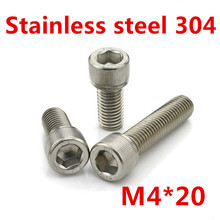 Buy Free 100pcs/Lot Metric Thread DIN912 M4x20 mm M4*20 mm 304 Stainless Steel Hex Socket Head Cap Screw Bolts for $8.00 in AliExpress store
