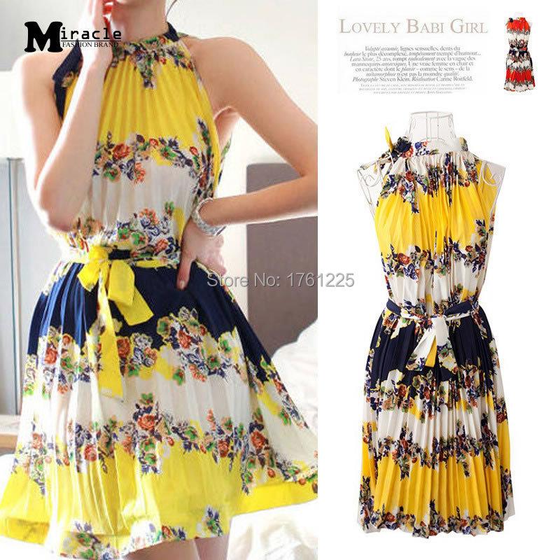 Summer Dress 2015 New fashion Women Summer Style Chiffon Print Dress Sleeveless Tank Pleated Dress Cute Sexy Comfortable Dress(China (Mainland))