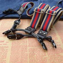 New 6 clips elastic strap leather men's suspenders british style warm colors braces men adjustable elastic Straps