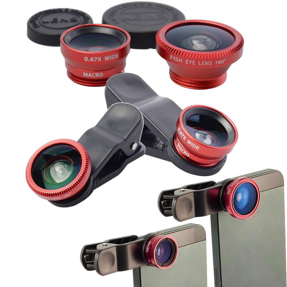 3 in 1 Fish Eye Wide Angle Macro Fisheye Lens Lente Olho de Peixe Para For