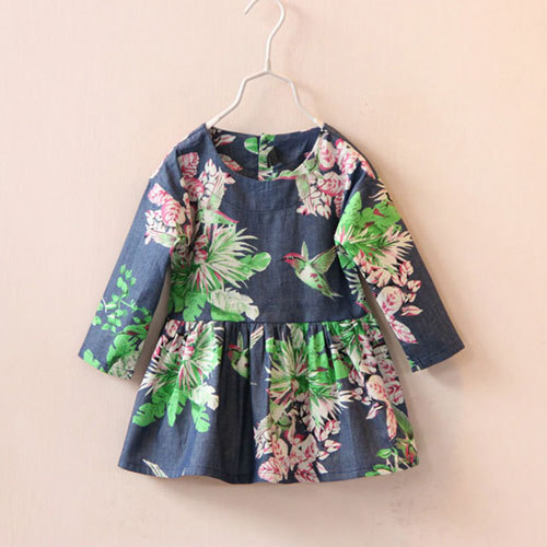 casual dress girls 2016 summer baby denim pattern kids party dresses for girl brand clothing clothes Princess New toddler kids(China (Mainland))