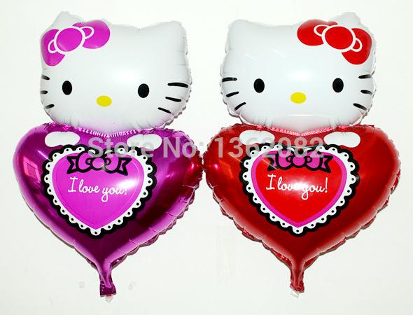 Lovely Baby Girl Birthday Decoration Hello Kitty Aluminum Foil Balloons I Love You Heart Party Balloons YO156(China (Mainland))