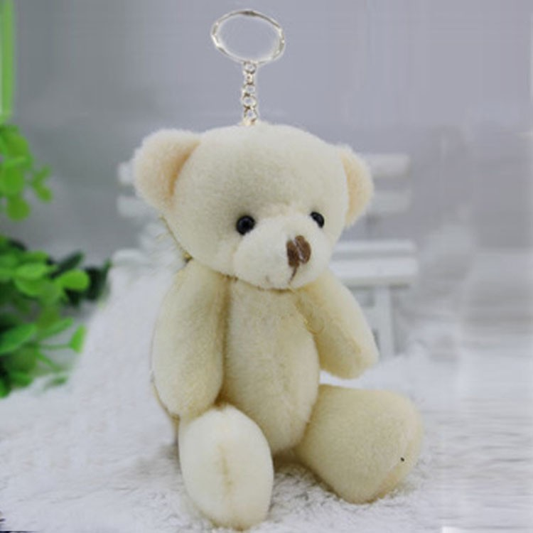 8 12CM cream white jointed mini teddy bear small keychain /cartoon bouquet toy/wedding gifts - JNJ Plush Toy Co. store