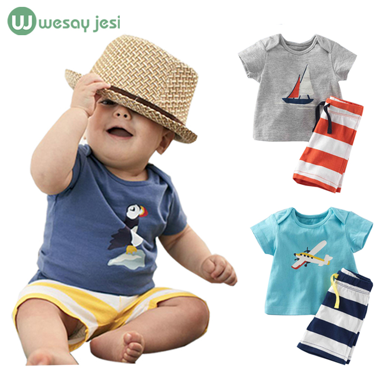 Kids clothes 2016 summer Fashion Boys Clothes Sets Short-Sleeve Cartoon T-Shirt+ Striped Pant children boys cotton Clothing Set(China (Mainland))