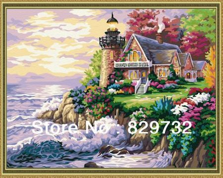 JIUJIU DIY digital oil painting Free shipping arcylic paint 30X40cm Seaside villa paint by number