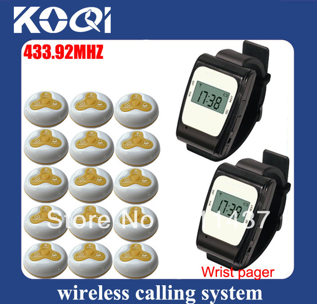 433.92mhz Equipment service bell system electronic pagers consist of 2pcs wrist pager and 15pcs waiter calling button