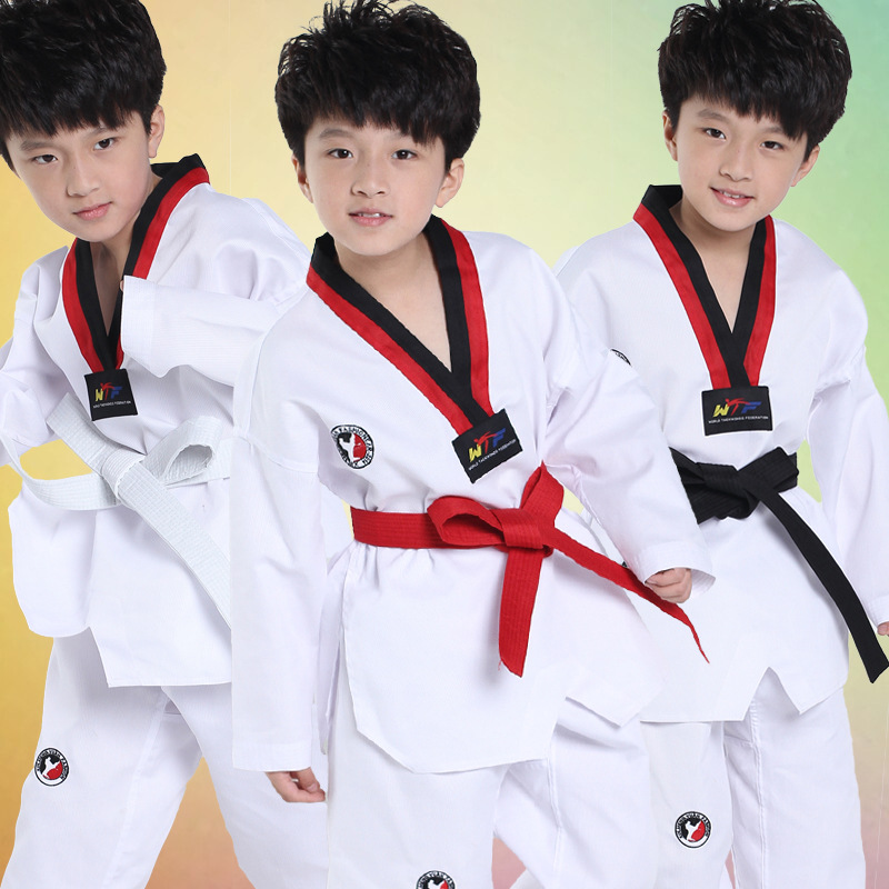 White Long Sleeves Kids Judo Kimono Clothes Children Karate Competition Performance Costumes Boys Girls Taekwondo Suits(China (Mainland))
