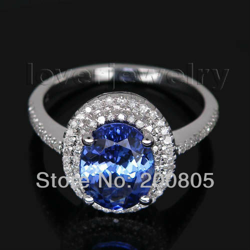Jewelry Sets Vintage Oval 7x9mm 14Kt White Gold Diamond Tanzanite Engagement Ring R0014<br><br>Aliexpress