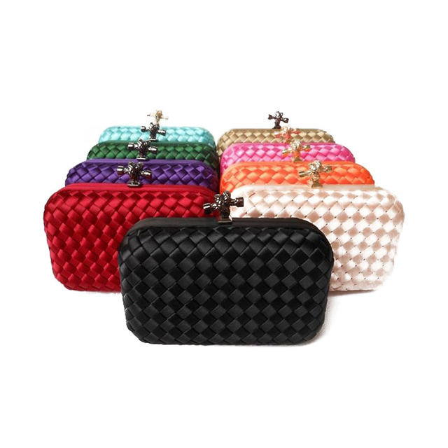 Factory new listing  women candy color  Wove evening bag and clutches 2014 shoulder  day Clutches With Chain free shipping XP73