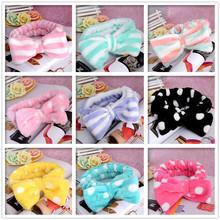 Free Shipping Womens Coral Velvet Big Bow Polka Dot Stripe Headbands Wash Face Makeup and Beauty Hairband Hot Sale(China (Mainland))