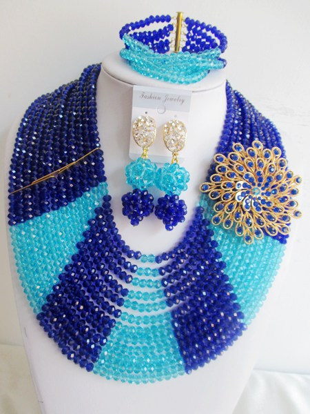 2015 luxury blue african crystal beads necklace set nigerian wedding african beads jewelry set Free shipping P-877<br><br>Aliexpress