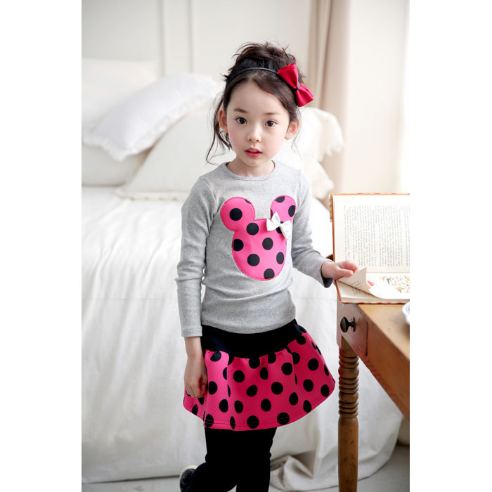 2015 New  4 Color Spring and autumnNew Children Girls 2PC Sets Skirt Suit Minnie Mouse baby sets dots skirt dots pants kids<br><br>Aliexpress