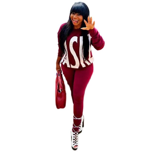 Горячий дизайн моды 2016 с длинным рукавом комбинезон женщины Полный костюм шикарный сексуальный 2 шт. случайные бегунов комбинезон фитнес толстовка + брюки