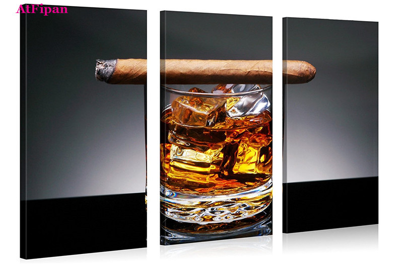 AtFipan Wall Art Poster Liquor Series 5 piece Home Decor Wall Art Glass of Whiskey With A Cigar On Wooden Table Canvas Paintings(China (Mainland))
