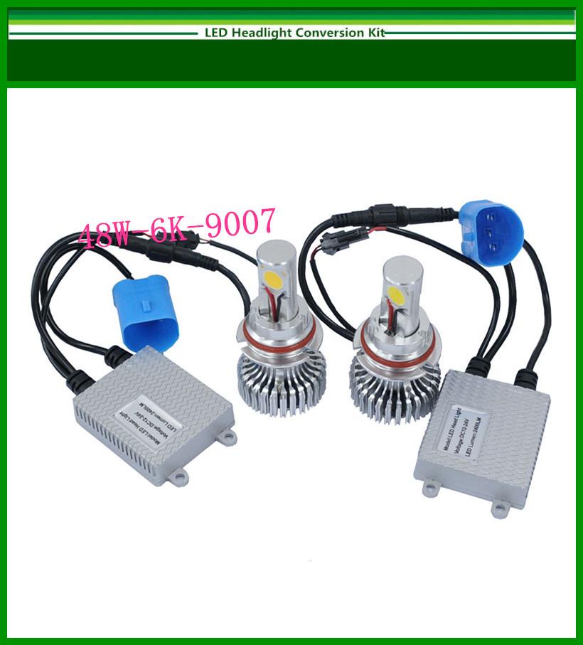 New 9007 48W 6000K LED Headlight Conversion Kit CREE 2*24Watt LEDs Bulb(China (Mainland))