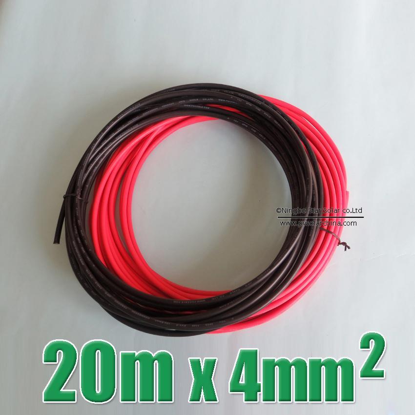 Vente chaude 20 m 4mm2 c ble solaire 10 metro n gatif noir connect 10 m rouge positif - Cable electrique 4mm2 ...