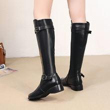 Phụ nữ Đầu Gối Cao Khởi Động Mềm Pu Da Phẳng Thời Trang Đầu Gối Khởi Động Mùa Đông Ấm Áp Thoải Mái Lông Phụ Nữ Dài Boots Giày Cộng Với kích thước 2018(China)
