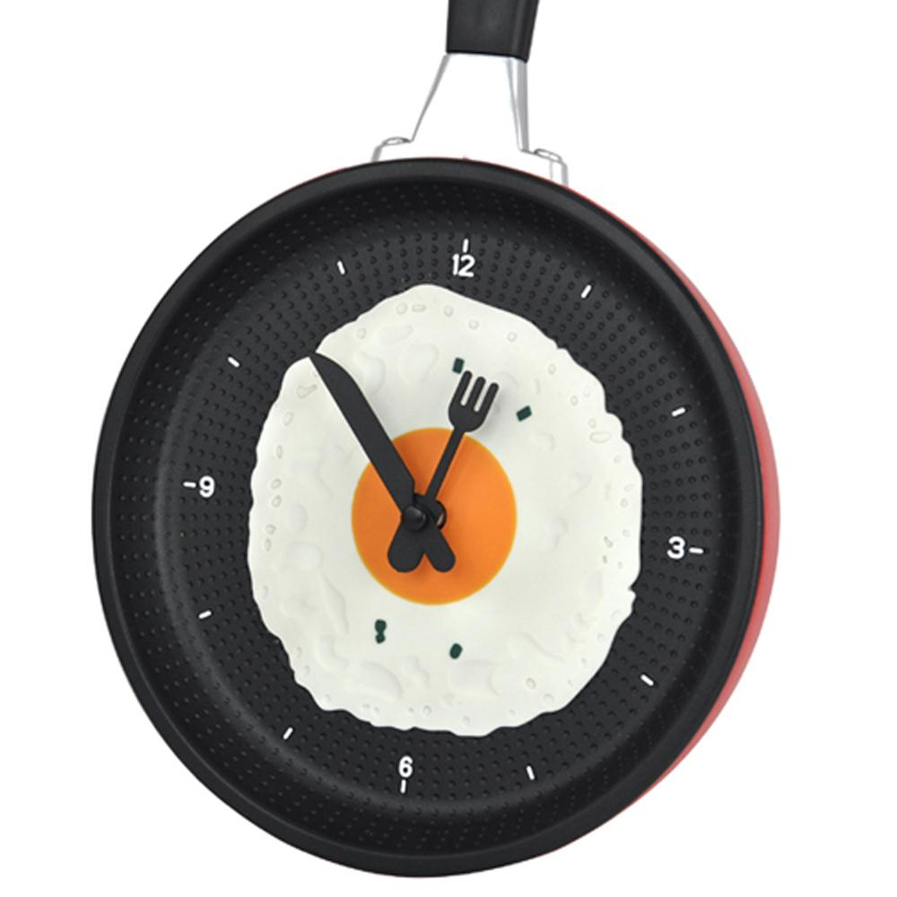 FS Hot Frying Pan Clock with Fried Egg - Kitchen Cafe Wall Clock - Red(China (Mainland))