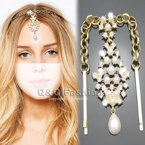 Fab Gold Pearl Crystal Bindi Hair Clip Chain Matha Tikka Patti Indian Head Dress Jewelry Party Free Shipping(China (Mainland))