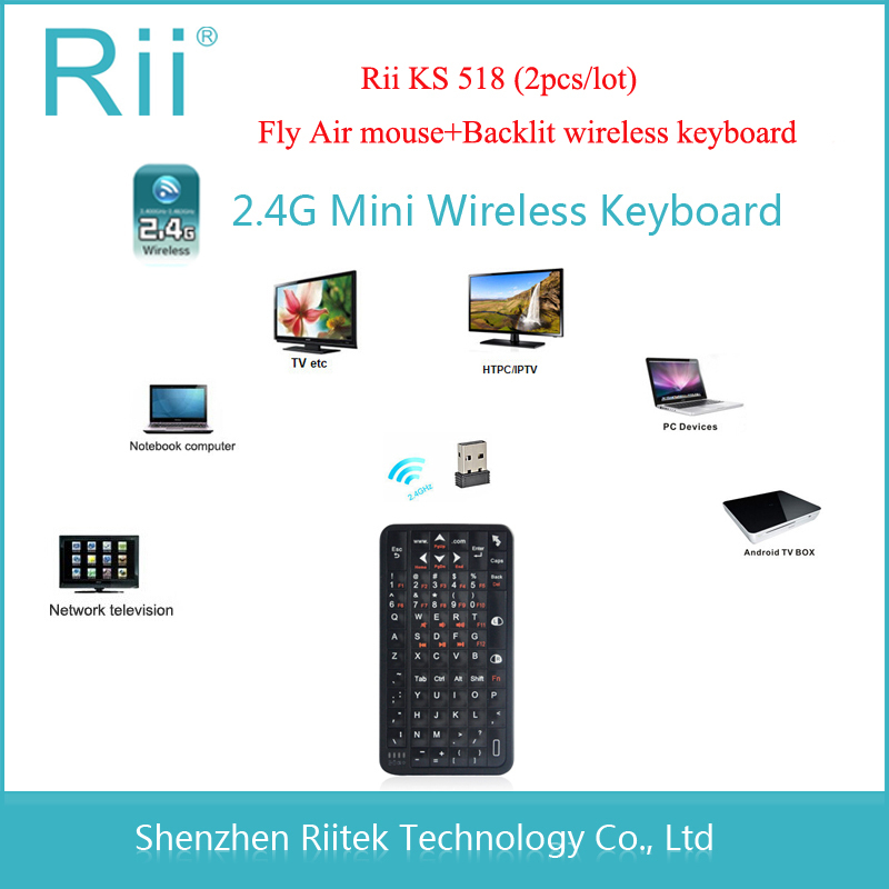 New 2.4GHz Fly Air Mouse Rii 518 mini Wireless Keyboard Handheld Backlit Teclado for Laptop Android/Smart TV Box PC Tablet HTPC(China (Mainland))