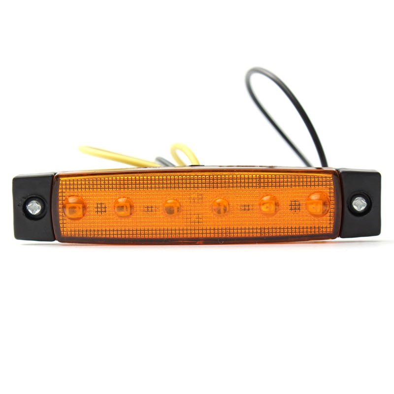 Side Marker Indicators Lights Orange Amber 12V 6 LED SMD Truck Trailer Bus(China (Mainland))