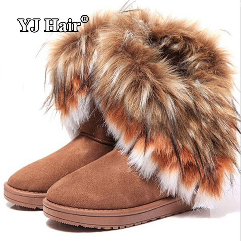 New Fashion Winter Snow boots women imitation fox fur snow boots Mid-Calf winter shoes boots for women hot fashion new style(China (Mainland))