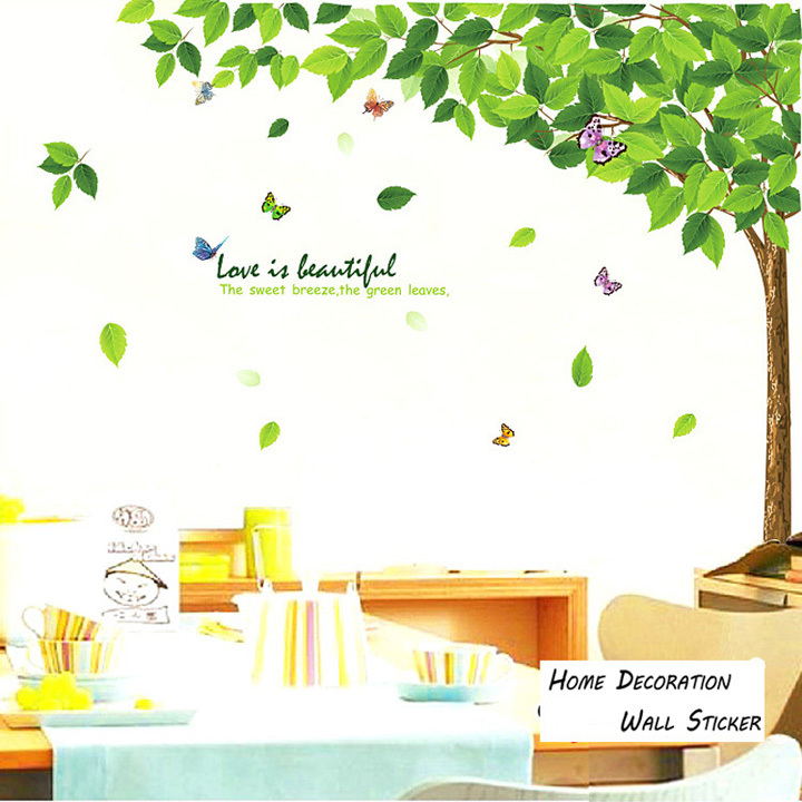 summer big green tree and butterflIies fly on the wall stickers love is likely to the wind butterfly wallstickers(China (Mainland))