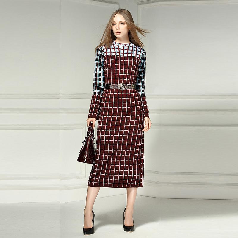 Office Lady Dress 2015 European Fashion Autumn Womens Classic Knitting Full Sleeve Blue/Brown Mid-Calf Plaid Print Long DressОдежда и ак�е��уары<br><br><br>Aliexpress