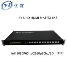 Бесплатная доставка микро-hdmi матрица 8 X 8 1.3 В 3d 1080 P переключатель-преобразователь и сплиттер с PC инструмент управления RS232 / RJ45