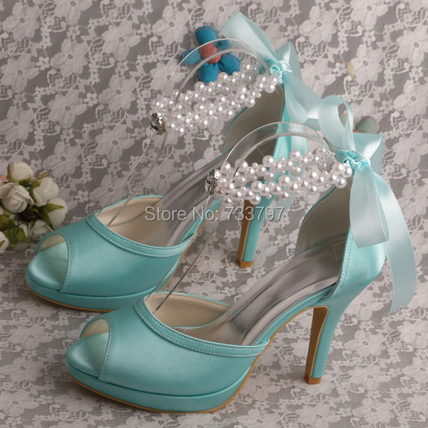New Design Ribbon Mint Green Shoes Wedding Bridal for Women Ribbon High Heels(China (Mainland))