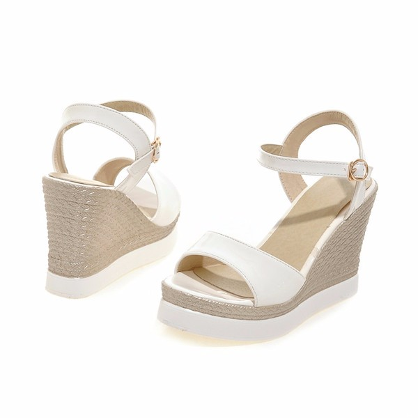 Female Summer Shoes Platform Sandals Wedge Heels Patent Leather Sandals Shoes Bohemia Ladies Sandals White Beige Size 34-39