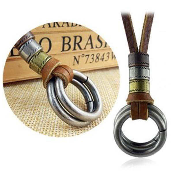 Vintage Men Adjustable Hippie Tribal Circle Style Pendant Handsome Leather Necklace Chain Cool Jewelry(China (Mainland))