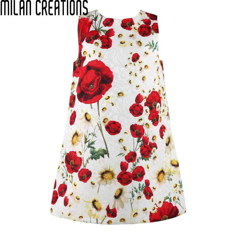 Milan Creations Girls Dress Princess Costume 2016 Brand Kids Dresses for Girls Clothes Poppy Floral Baby Girl Dress Children(China (Mainland))