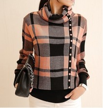 Turtleneck Sweater 2016 Womens New Fashion Winter Thick Warm Jumper Female 5 Color Side Single-breasted Plaid Pullovers Sweaters(China (Mainland))