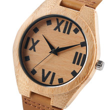 Man Watches Clear Thick Roman Numbers Nature Wood Sport Bangle Quartz Wristwatches Bamboo Relogio Masculino Creative Hot Gifts(China (Mainland))
