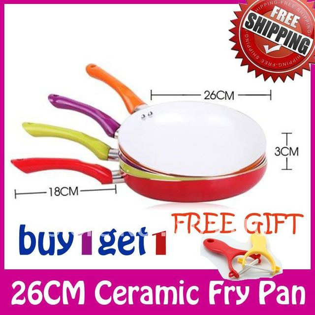 """BUY 1 GET 1 FREE GIFT"" 10' Eco Friendly Healthy Ceramic Nonstick Fry Pan Chicken Fryer Free Shipping FDA,LFGB,DGCCRF,SVHC"