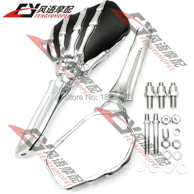 Фотография  Motorcycle Skeleton Bone Hands Left & Right Mirrors For Harley Heritage Springer Sportster Dyna Glide Softail V Rod 4 Color