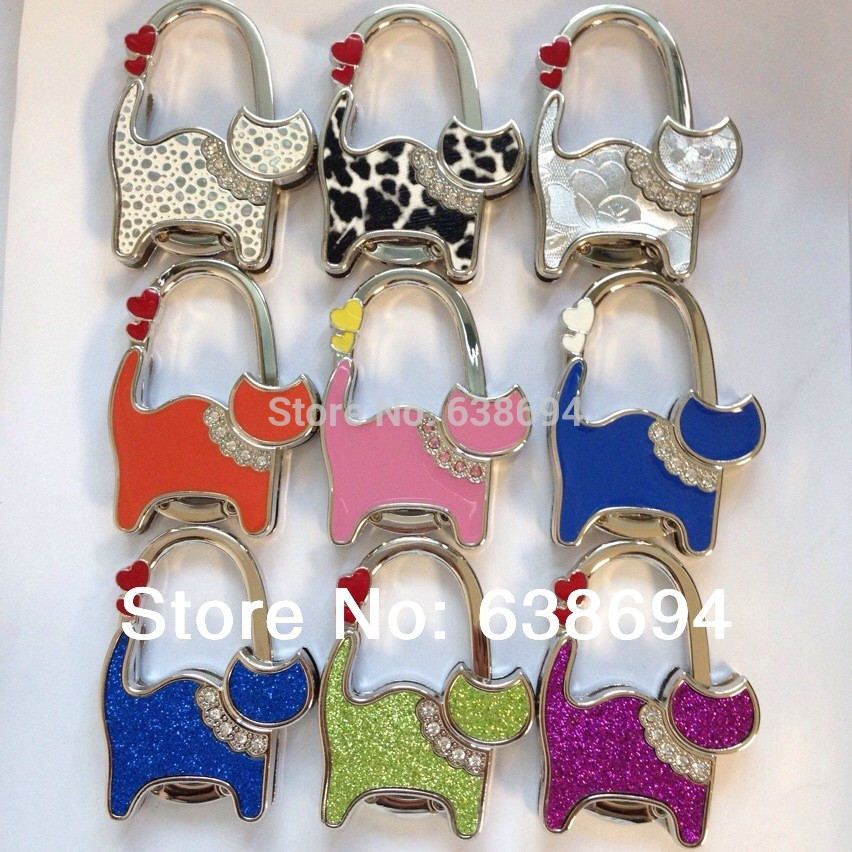 Solid Ten Cat 9pcs Metal Foldable Bag Purse Hook Bag Hanger/Purse Hook/Handbag Holder Bling Bag Folding Table Rhinestone Noble(China (Mainland))