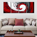 Unframed 4 Panel Handpainted Abstract Painting Black White Red Landscape Oil Painting Home Wall Art Picture
