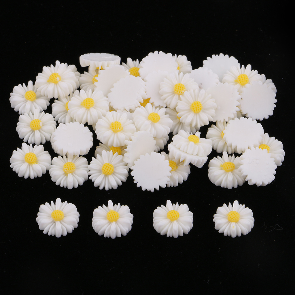 50pcs 13mm white yellow daisy flower resin flatback cabochon buttons  DIY jewelry phone decoration girls hair center bow making