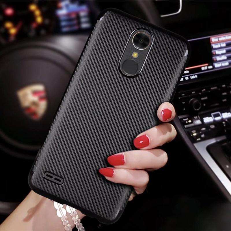 MAKAVO LG K10 2017 Case Carbon Fiber Skin Back Cover Slim Soft Fundas Back Housing Coque X400 M250N LV5 Capa Phone Case