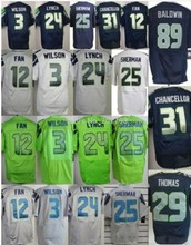 Elite American Football jersey #24 Marshawn Lynch Jersey 25 Richard Sherman Jersey 29 Earl Thomas 3 Russell Wilsons Jerseys(China (Mainland))