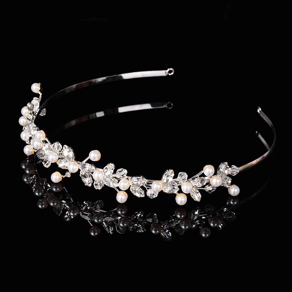 white gold plated wedding hair accessories bridal crown design jewelry for women simulated pearl unique string tiara diadem F028(China (Mainland))